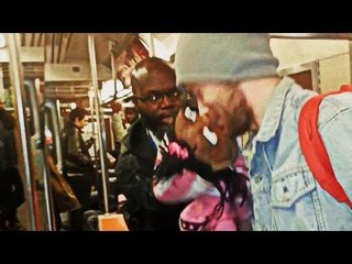 White guy gets a kiss from a puppet on Subway (Cindy Hot Chocolate)
