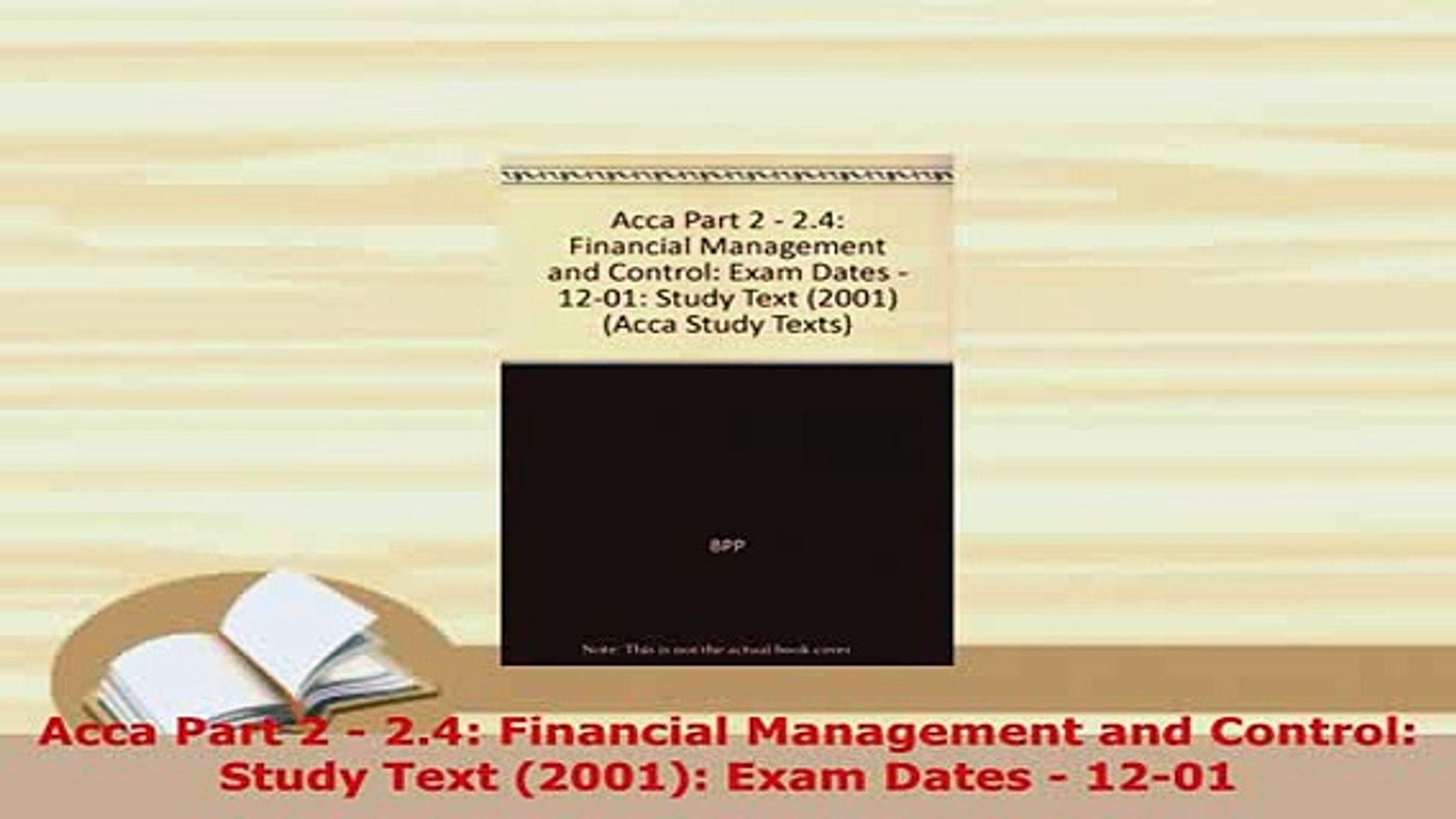 Download Acca Part 2 24 Financial Management and Control Study Text 2001  Exam Dates 1201 Ebook