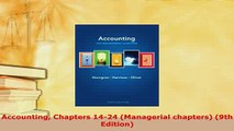 Download  Accounting Chapters 1424 Managerial chapters 9th Edition PDF Book Free