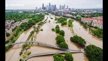 Drone footage shows scale of flooding in Houston, Texas