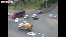 Drivers Sinkhole Escape Captured On Camera | Car Plunges into Sinkhole in China