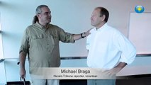 Watch future Pulitzer Prize winner Michael Braga get zapped with a stun cane #htvideo