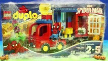 Lego Duplo Spider-Man truck And Spiderman Tangle Green Goblin In Massive Silly String Spider Web