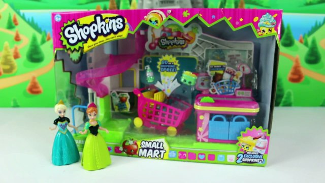 Shopkins Toys Opening New Playset with Blind Bags & Frozens Anna and Elsa Shopping Cart Basket
