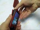 PDair Leather Case for Sony Walkman NWZ-X1050 NWZ-X1060 NWZ-X1000 - Flip Type (Red)