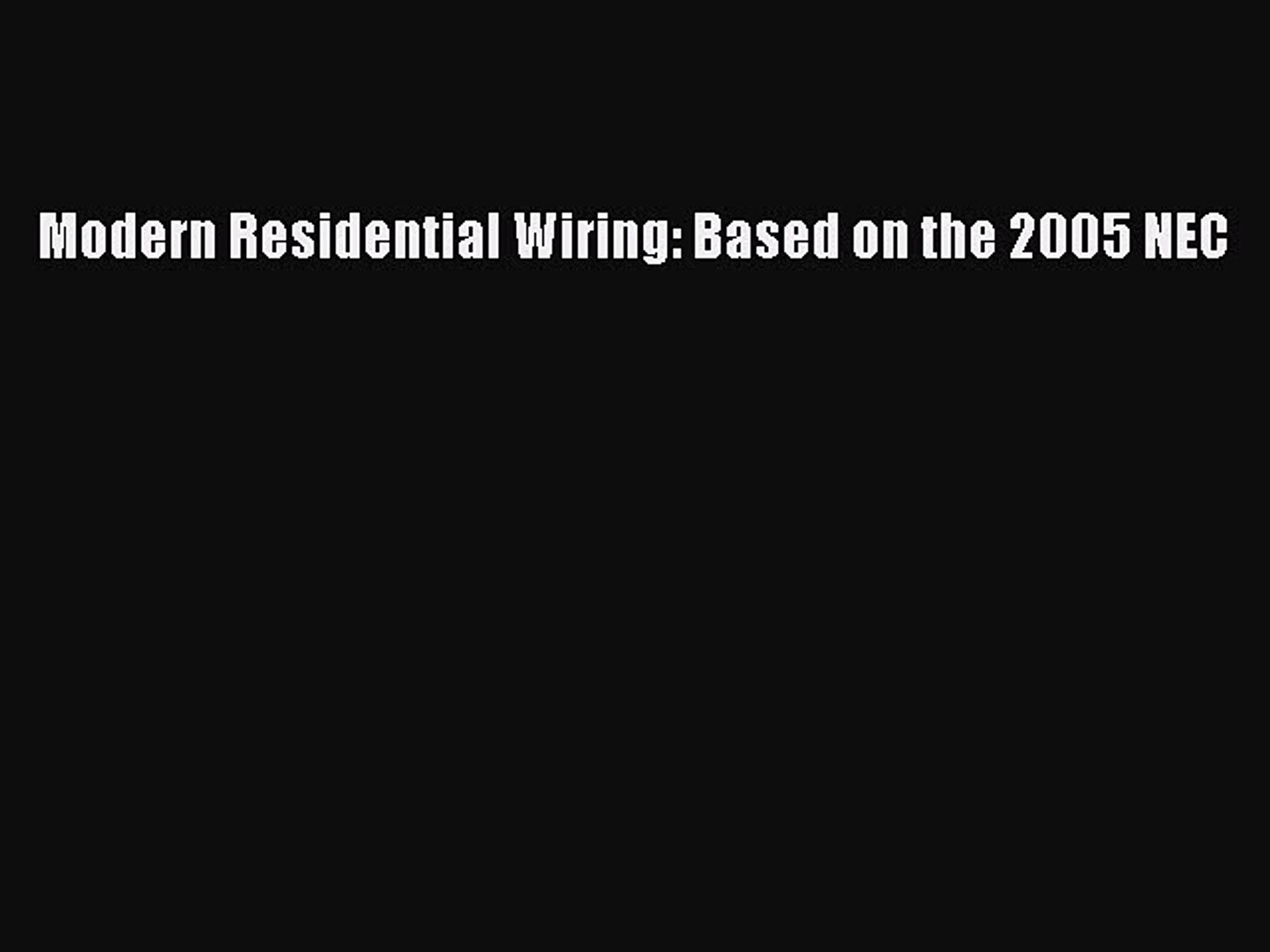 Residential Wiring Nec on