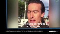 Un journaliste frôle la mort en direct à la télévision ! (Vidéo)