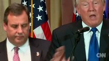 Just watch Chris Christie's face in this video as he stands behind Donald J. Trump