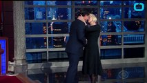 Helen Mirren Kisses Stephen Colbert on the Lips