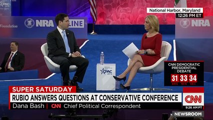 At the Conservative Political Action Conference, Marco Rubio tells CNN's Dana Bash that the American dream is not about how many buildings have your name on it