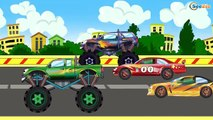 ✔ Car Cartoons for children. Racing Cars, Monster Truck. Race with obstacles. Funny Cars TV ✔ 2016