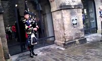 Scot man playing bagpipes in Edinburgh Castle :)