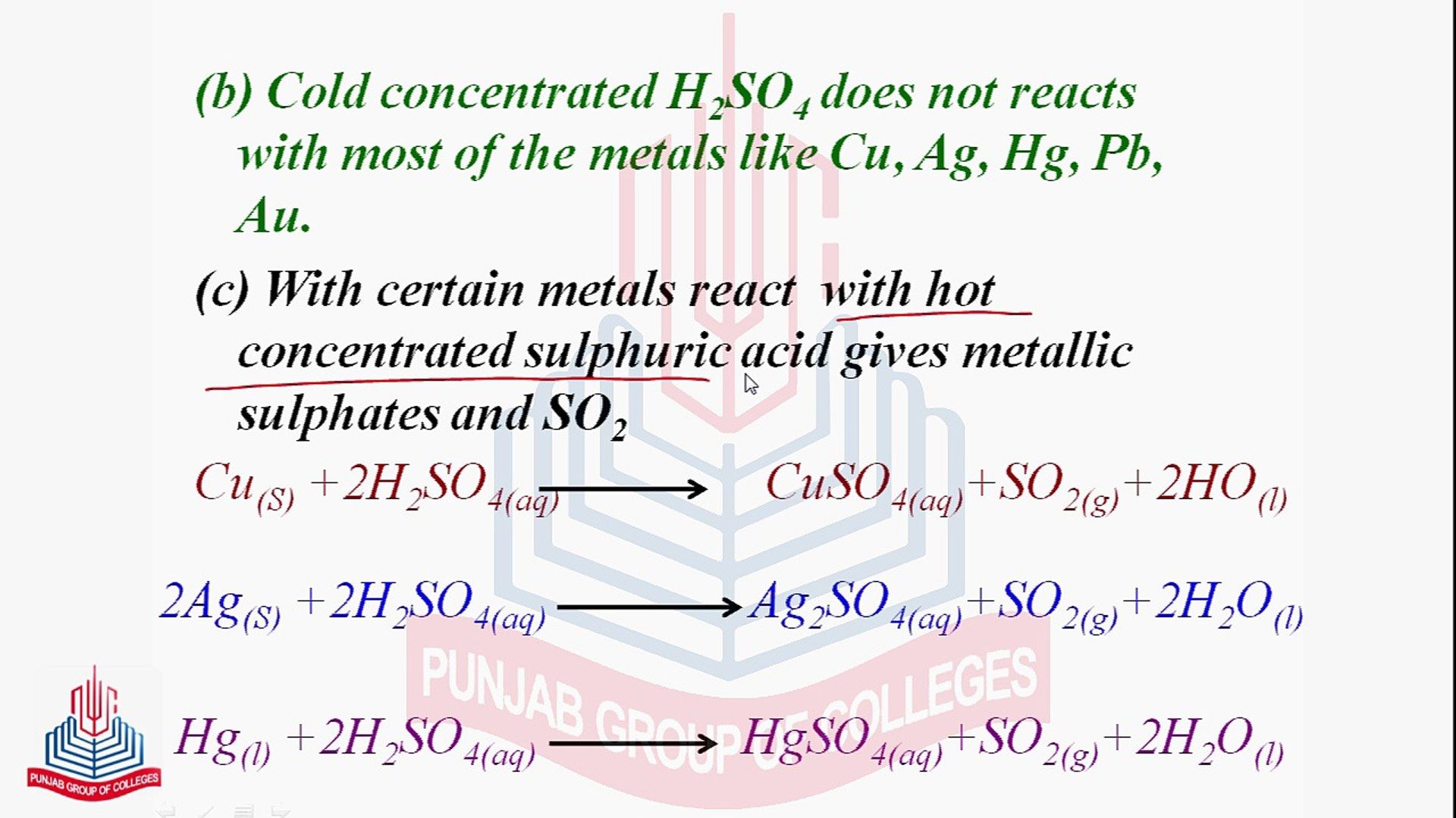 Reactions of Sulphuric Acid ( With some salt, With Metals & as a  Dehydrating Agent )