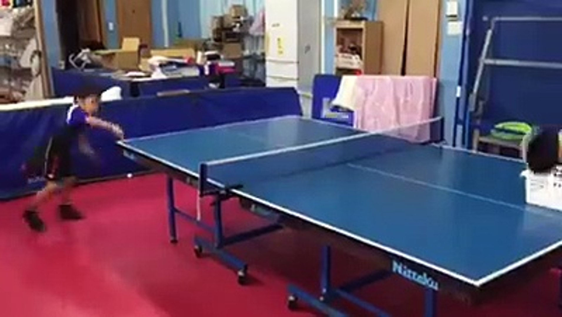 Kids play table tennis!