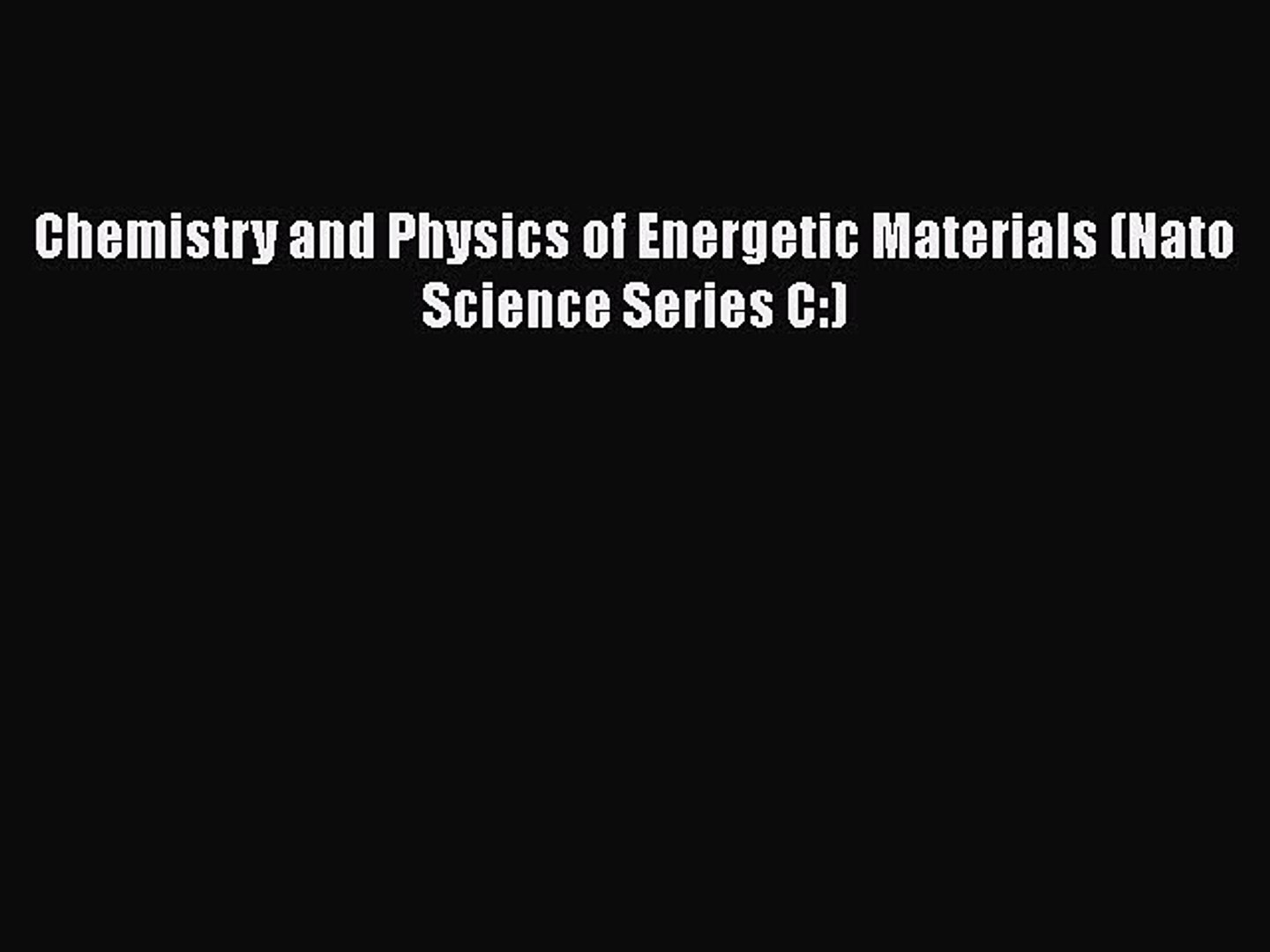 Energetic Materials. Physics and Chemistry of Inorganic Azides