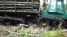 Timberjack 810D in deep mud, extreme mud conditions Ive never seen before, big load