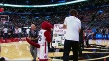 Brook Lopez Fights Raptors Mascot  - Nets vs Raptors - March 8, 2016 - NBA 2015-16 Season