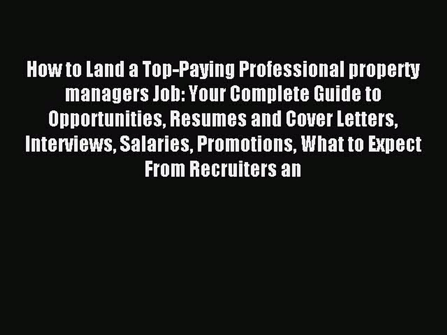 Read How to Land a Top-Paying Professional property managers Job: Your  Complete Guide to Opportunities
