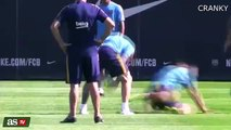 Lionel Messi , Suarez And Neymar Having Fun In Barcelona Training 2015