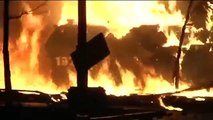 Kiev 2014. First attack of Berkut to Maidan. Burnt armored personnel carrier (APC)