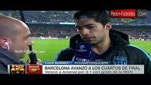 Luis Suarez Entrevista Luego del Triunfo [Barcelona vs Arsenal 3-1] UCL 16-03-2016