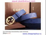Gucci Interlocking G Buckle Belt Blue Leather Gold Buckle for Sale