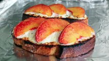 Goat Cheese & Peach Tartine Warm Open Faced Sandwich with Goat Cheese & Peaches