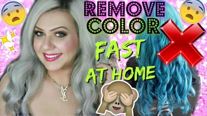 REMOVE COLOR FROM HAIR - NO BLEACH!! STEP BY STEP AT HOME HAIR HACK!!