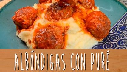 Albóndigas en salsa de tomate con puré   Comamos Casero