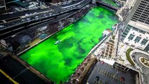 Chicago River Dyeing Green - St. Patricks Day Celebration 2016 4K Time Lapse