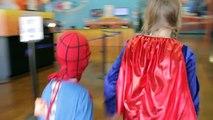 Little Spiderman vs Supergirl, Trampoline Park Fun In Real Life Trampoline Comic   SuperHeroKids