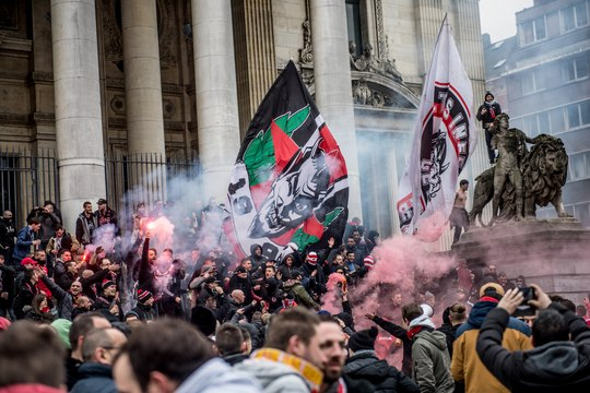Six heures avant la finale, les Standarmen ont déjà envahi Bruxelles