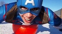 スパイダーマンvsキャプテン-アメリカ生ます! 巨大なボールです! スーパーヒーロー遊び!