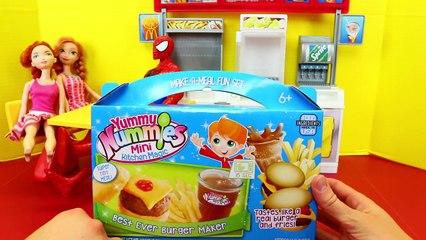 Burger Maker Toy at the Barbie McDonalds Restaurant with Disney Dolls + Yummy Nummies Fren