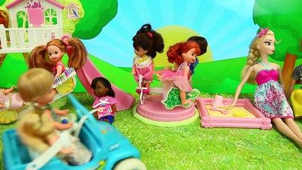 Barbie Kelly Power Wheels Frozen Kids Playground Park Adventure with Elsa, Anna & Baby Dol