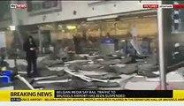 Horrible images et scènes de destruction à partir de l'intérieur de l'aéroport de Bruxelles après deux explosions