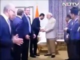 Microsoft CEO Satya Nadella Wiping his Hands after Shaking Hands with Indian PM Narendra Modi