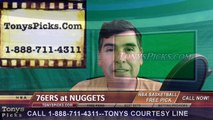Denver Nuggets vs. Philadelphia 76ers Free Pick Prediction NBA Pro Basketball Odds Preview 3-23-2016