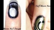 Water Marble Nail Art Designs - Full Moon and Half Moon