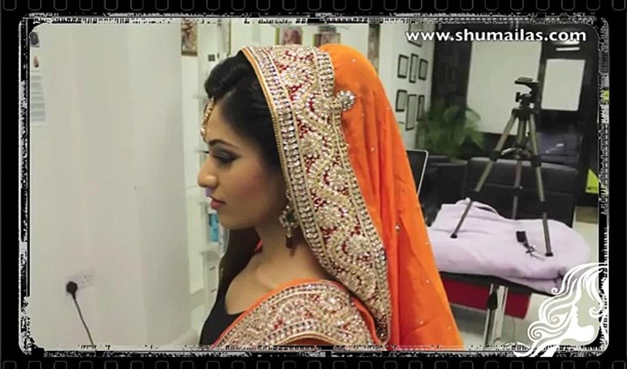 pakistani bridal hair style tikka & dupatta setting