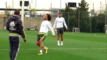 Cela s'amuse à l'entraînement au Real avec Marcelo et Casemiro