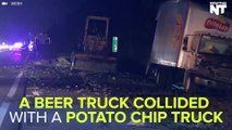 A Beer Truck And Potato Chip Truck Collided