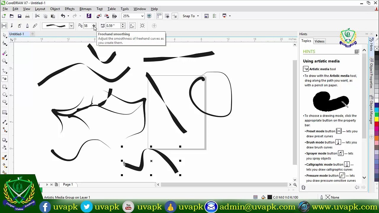 Lecture 6 how to use artistic media tool in corel draw X7 in hindi urdu
