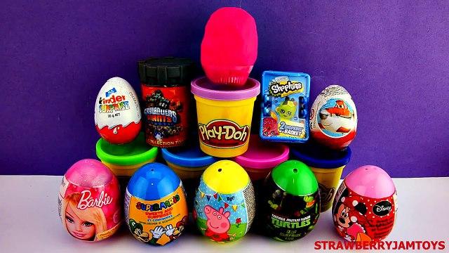 LPS Play Doh Kinder Surprise Shopkins Barbie Peppa Pig Minnie Mouse Surprise Eggs StrawberryJamToys