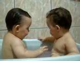 Twins kids Brothers Enjoying Bath room Time