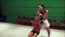 Female Wrestling Sleeper Hold - Slow Motion. Women vs women best video wrestling