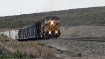 Union Pacific Railroad # 7128 mixed freight train crests Echo Canyon @ Wasatch,UT 5/5/2014