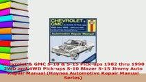 PDF  Chevrolet  GMC S10  S15 Pickups 1982 thru 1990 2WD and 4WD Pickups S10 Blazer S15 PDF Online