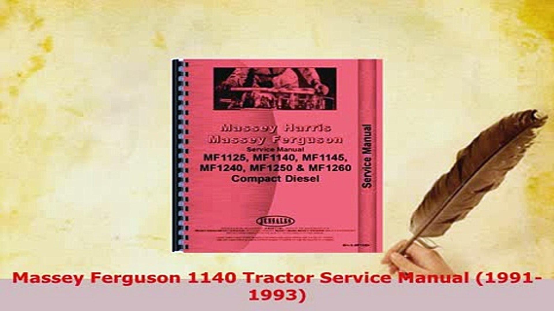 PDF Massey Ferguson 1140 Tractor Service Manual 19911993 PDF Book Free