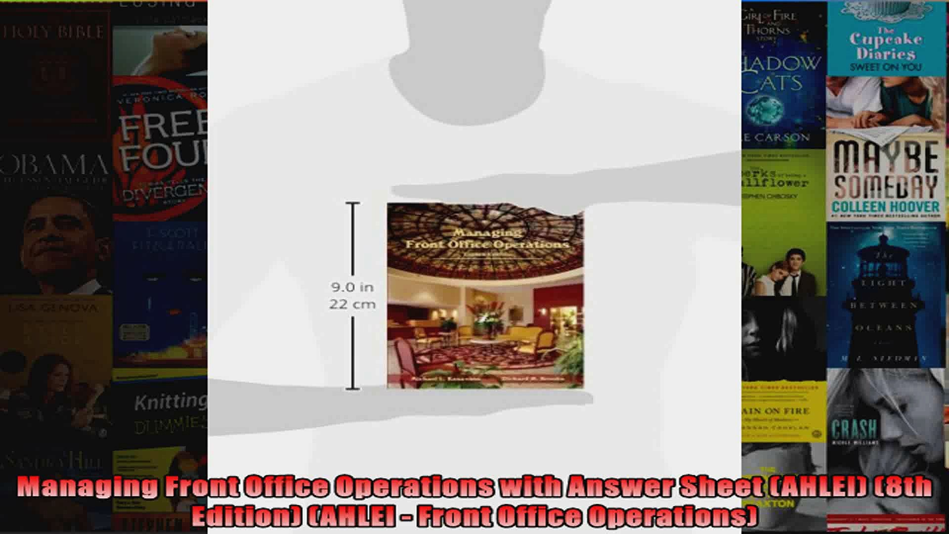Managing Front Office Operations with Answer Sheet AHLEI 8th Edition AHLEI  Front